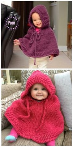 Knit Little Peach Baby Poncho Free Knitting Pattern free advanced baby knitting patterns - Knitting Techniques Baby Cardigan, Cardigan Au Crochet, Crochet Baby Poncho, Baby Pullover, Knitted Poncho, Poncho Sweater, Poncho Knitting Patterns, Free Knitting, Knitting Ideas