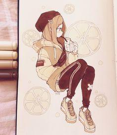 Yoai / Anny / Cicishu ٩( ᐛ )و( Anime Drawings Sketches, Cool Art Drawings, Anime Sketch, Kawaii Drawings, Cartoon Art Styles, Cute Art Styles, Anime Chibi, Anime Art Girl, Manga Art