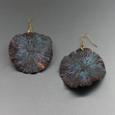Dramatic Maroon Copper Lily Pad Earrings Presented on #ILoveCopperJewelry #CopperGifts #Earrings https://www.ilovecopperjewelry.com/maroon-patinated-copper-lily-pad-earrings.html