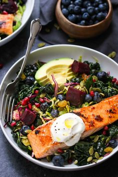 Massaged kale salad with shaved Brussels, red cabbage, beets, and berries tossed in a lemon-cayenne vinaigrette and topped with miso-glazed salmon and pepitas. This superfood salad is brimming with heart-healthy omega-3 fatty acids, vitamins, minerals, and antioxidants. If I could eat one salad every day for the rest of my days, it would be this...Read More »