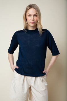 Silk Top, Dark Blue, Tunic Tops, Wool, Blouse, Long Sleeve, Sleeves, Products, Fashion