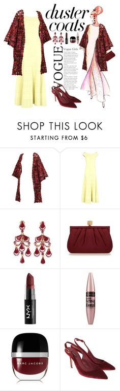 """""""Duster Coats"""" by marionmeyer ❤ liked on Polyvore featuring Elie Saab, Alexander McQueen, Oscar de la Renta, Wilbur & Gussie, NYX, Maybelline, Marc Jacobs, Dolce&Gabbana and DusterCoats"""