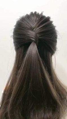 Bun Hairstyles For Long Hair, Girl Hairstyles, Braided Hairstyles, Braided Half Updo, Long Hair Half Updo, Easy College Hairstyles, Hair Updo Easy, Casual Hairstyles For Long Hair, Cute Hairstyles For Teens