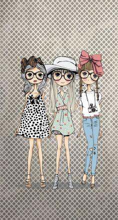 Drawing Cartoon Faces, Girly Drawings, Cute Cartoon Girl, Illustration Girl, Kawaii, Doodle Art, Cute Wallpapers, Cute Art, Art Girl