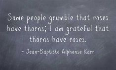 Jean Baptiste Alphonse Karr, Some people grumble that roses have thorns, I am grateful that thorns have roses