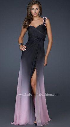 La Femme Black Pink Chiffon Prom Dress with Floral Strap 17239