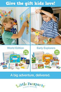 Give them the world with this award-winning subscription for kids! Shop our gift guide to find the perfect holiday gift for kids of all ages! Fun Activities For Kids, Infant Activities, Learning Activities, Toddler Fun, Toddler Gifts, Gifts For Kids, Subscriptions For Kids, Little Passports, Gifted Education