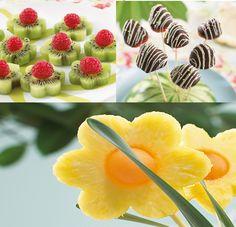 Kiwi, fresas con chocolate y piña en diseño de una flor