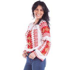 Ie Romb - Roșu cu portocaliu Floral Tops, Ethnic, Embroidery, Traditional, Beauty, Women, Art, Fashion, Needlework