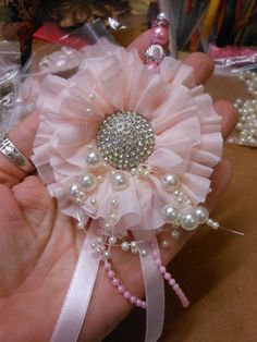 Shabby Chic Handmade Gathered Ruffle Flower :