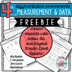 "Ready for something better when it comes to your math assessments? This FREE sneak peak of Differentiated Measurement and Data assessments covers converting customary length/distance and angle measures concepts {aligned to the 4th grade 4MD standards!)Each assessment has three levels ""building blocks,"" ""goals,"" and ""stretching beyond"" sections."