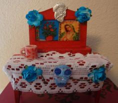 blue mini table top Day of the Dead shine by catrinacreations
