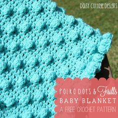 This adorable puff stitch baby blanket pattern is perfect for girls and boys. It's fun for baby and beautiful to look at. #crochetidea #daisycottagedesigns