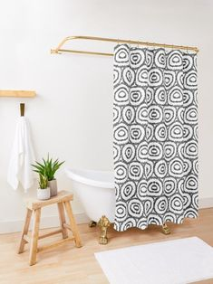 Goregous, minimalist mudcloth print boho shower curtain, perfect for an understated and simple shower curtain. This modern shower curtain, will be perfect in a teen bathroom, apartment bathroom, in chic bohemian decor, or in a modern bohemian home! Bohemian Shower Curtain, Modern Shower Curtains, Custom Shower Curtains, Shower Curtain Sets, Curtain Material, Curtain Fabric, Modern Bohemian, Bohemian Decor, Teen Bathrooms
