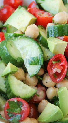 Chickpea, Cucumber, Tomato and Avocado Salad