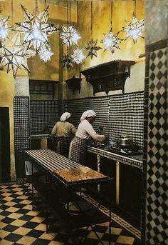 Moroccan kitchen... love the lights!!
