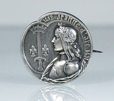 Antique French Silver Jeanne d'Arc Medal Brooch Pin