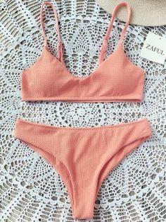 6b7e38b3e0 High Cut Bralette Bikini Set - Orangepink S Bikini Tops