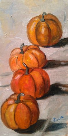 Pumpkins original oil painting on canvas by LAURADALLAGATA on Etsy