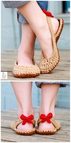 Crochet Women Slippers Shoe Patterns -Crochet Slingbacks w/bow - Women Slippers - Ideas of Women Slippers Crochet Sandals, Knitted Slippers, Crochet Slippers, Crochet Slipper Pattern, Crochet Patterns, Shoe Pattern, Pattern Design, Crochet Woman, Espadrilles Outfit