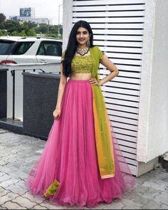 Half Saree Lehenga, Lehenga Saree Design, Lehnga Dress, Lehenga Designs, Choli Designs, Saree Blouse, Indian Gowns Dresses, Indian Fashion Dresses, Indian Designer Outfits