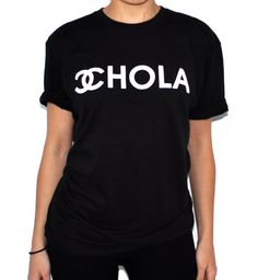 100% cotton oversized tee with CHOLA screenprint in white. Even Cholas like Chanel.