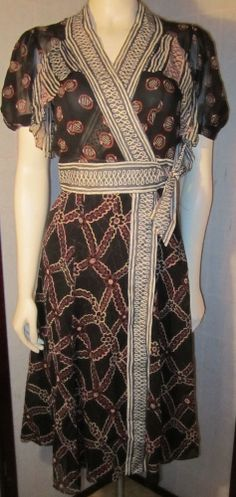 Cacharel CELIA BIRTWELL Black Red Print  Dress Silk sash Wrap Slip 2002 S 38/6