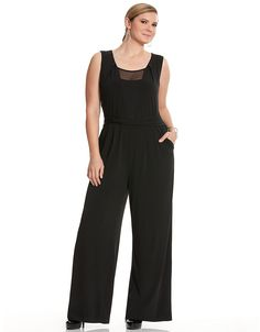 49340b02b37 Mesh inset jumpsuit by Lane Bryant