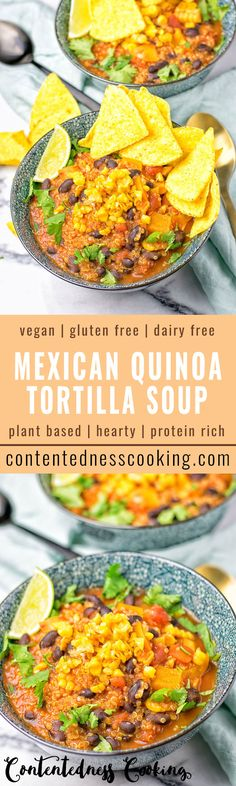 This Mexican Quinoa Tortilla Soup is entirely vegan and gluten free. Full of amazing flavors, super easy to make and protein rich. A must make for your lunch or dinner.