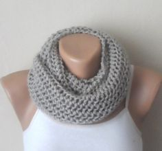 gray knit infinity scarf gray circle scarf loop scarf winter