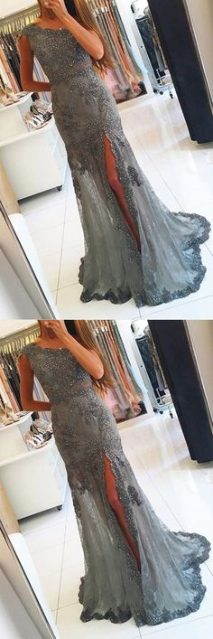 #Oneshoulder #Grey #Tulle #Slit #Beaded #Promdresses with #Appliques