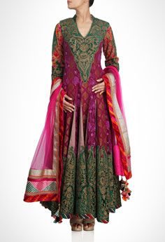 Dual Panel Multi Anarkali With Georgette And Brocade Panel