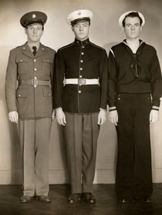 WWII Us Army, Marine and Navy Men in Uniform