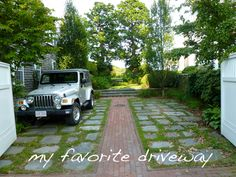 My Favorite driveway ever! Permeable Driveway, Concrete Driveways, Broken Concrete, Portland House, Ocean Springs, Brick And Mortar, House Front, Home Look, Garage