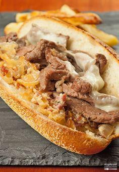 Strip Steak Sandwich with Bacon-Horseradish Spread from MyGourmetConnection ~ a NY strip steak sandwich with cheese and a spread made with bacon, sautéed onion & horseradish.