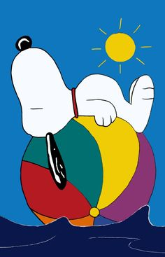 Snoopy on beach ball flag.