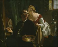 The painter and his model  by Jean Bertou (french painter)