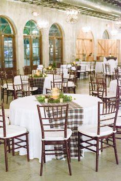Reception set up decor. Plaid table runners. Winter wedding. Holiday reception. Chivari chairs. Christmas wedding decor.