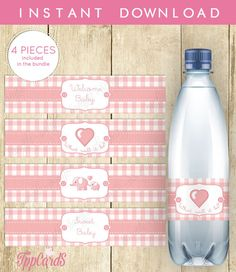 Elephant  Water Bottle Label Baby Shower Wraparounds by TppCardS