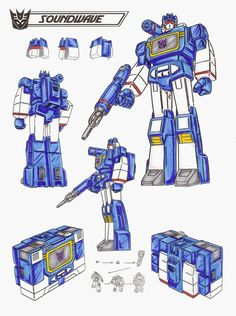 It is said Soundwave can hear a fly sneeze. Uses anything he hears for blackmail to advance his status. Opportunist. Despised by all other Decepticons. Sensors can detect even lowest energy radio transmissions. Able to read minds by monitoring electrical brain impulses. Acts as radio link for others. Locates and identifies Autobots, then informs Decepticons. Carries a concussion blaster gun. Often target of retaliation by his comrades. - See this image on Photobucket.