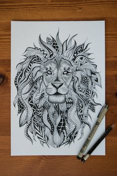 ONLY $16 FOR HOLIDAY SALE! Tribal Lion Print by EtchesOfCrimson on Etsy …