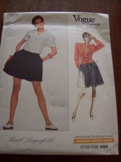 Uncut and Factory Folded. Vogue Patterns Paris Original Karl Lagerfeld Pattern #2088. Top and Shorts size 8. Semi-fitted top has notched collar, extended shoulders. above elbow sleeves or long sleeves. | eBay!