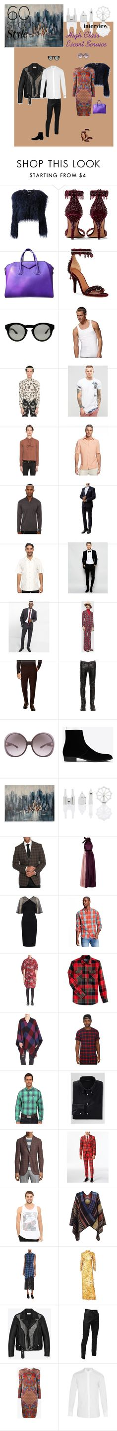 """Gracious Companions Escort Service"" by tess-jr ❤ liked on Polyvore featuring Givenchy, Hanes, Alexander McQueen, Sik Silk, BLK DNM, Tasso Elba, The Kooples, Sandro, Tommy Bahama and Number Eight Savile Row"