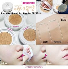 Etude House Precious Mineral Any Cushion SPF50+/PA+++. This cushion pact perfects all-day radiant and moist skin with its multi-function of brightening, wrinkle-reducing, sebum control and flawless coverage. Shop now at www.koreanlolyshop.com.