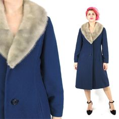 1960s Blue Winter Coat Fur Collar Coat Wool Winter Coat Mink Collar Vintage Mad Men Coat Button Front Pockets Classic Fancy Outerwear (S/M) by honeymoonmuse on Etsy https://www.etsy.com/listing/228689131/1960s-blue-winter-coat-fur-collar-coat
