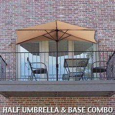 10\u0027 Ft Tan Half Patio Umbrella With Stand Market Umbrella Decor