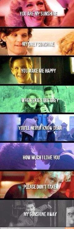 The Doctor and River- You Are My Sunshine. This is so sad and yet so sweet at the same time.... *cries*