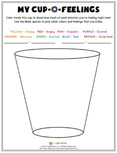Help kids explore their feelings with this worksheet from Mylemarks! Find this resource and more at www.mylemarks.com. #feelings #mood #empathy #mycupofeelings #mylemarks