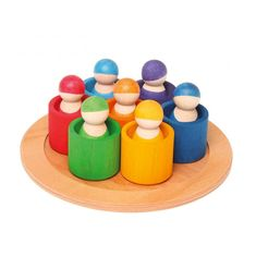 Grimm's 7 Friends in 7 bowls is a unique wooden sorting and matching toy with peg dolls. The amazingly versatile peg dolls, bowl and tray allows little imaginations to blossom and grow naturally through play. Toddler Age, Toddler Toys, Kids Toys, Round Wooden Tray, Wooden Bowls, Grimm's Toys, Grimms Rainbow, Wooden Rainbow, Eco Friendly Toys