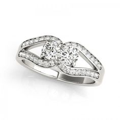 1/2 Ct T.w Two Stone Inspired Diamond Engagement Ring - Metal: 14k White Gold - 15% Discount and Free FedEx Shipping Offer!!